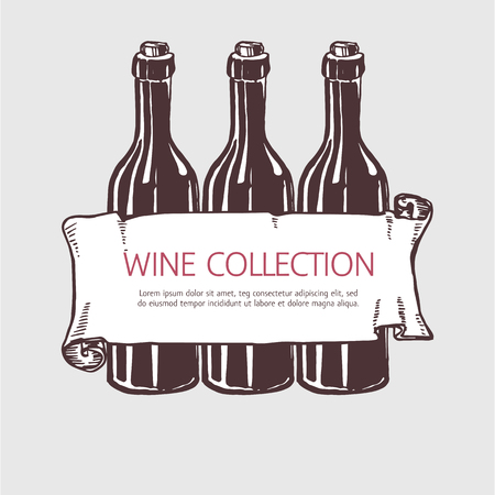 red wine pouring: Wine bottle collection with banner. Vector handdrawn sketch illustration.