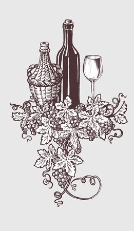 botella de licor: Vino y degustación de vinos de la ilustración con botella de vino y las uvas corona de la decoración. estilo de dibujo handdrawn. Ilustración del vector.