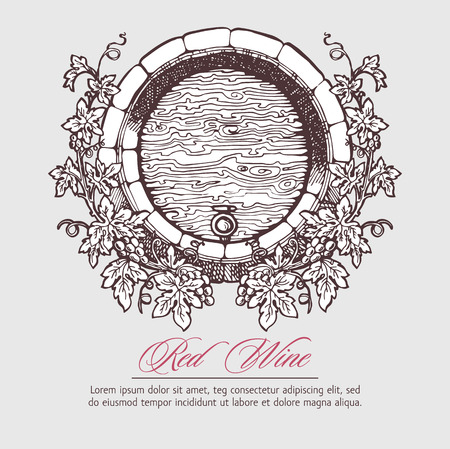 port wine: Wine and wine making. Wine barrel with grapes wreath. Wine template design. Vector illustration. Sketch style design.