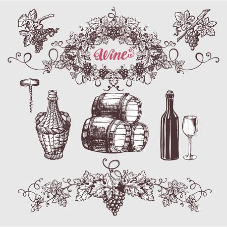 와인과 포도주 양조 법 빈티지를 설정합니다. 와인 템플릿 디자인입니다. 벡터 일러스트 레이 션. 스케치 스타일 디자인. 레드 와인, 화이트 와인. 손으로 그린 포도입니다.
