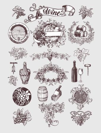 와인과 포도주 양조 법 빈티지를 설정합니다. 와인 템플릿 디자인입니다. 벡터 일러스트 레이 션. 스케치 스타일 디자인. 레드 와인, 화이트 와인. 손으