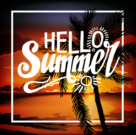beach sunset: Hello Summer Beach Party Flyer. Summer sunset vector lettering background. Tropic Summer fun vacation and travel. Tropical poster colorful background and palm exotic island. Illustration