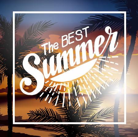 La meilleure brochure Summer Beach Party. Summer sunset vecteur lettrage fond. Tropic vacances d'été amusant et Voyage. affiche Tropical fond coloré et le palmier île exotique.