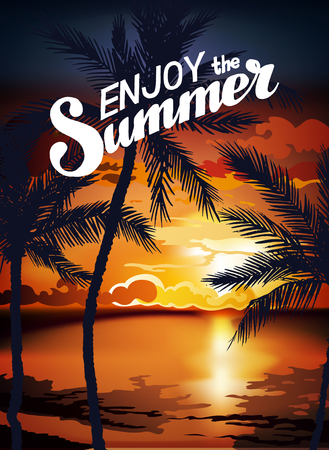 sunset beach: Hello Summer Beach Party Flyer. Summer sunset vector lettering background. Tropic Summer fun vacation and travel. Tropical poster colorful background and palm exotic island. Illustration