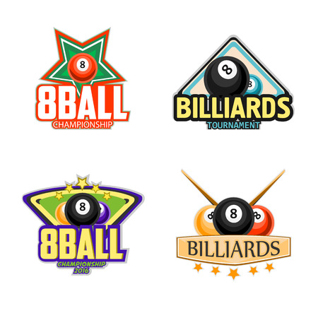 Billiard set. Billiards, pool and snooker sport icons for poolroom emblems design with balls, cues, tables. Vector illustration. Illustration
