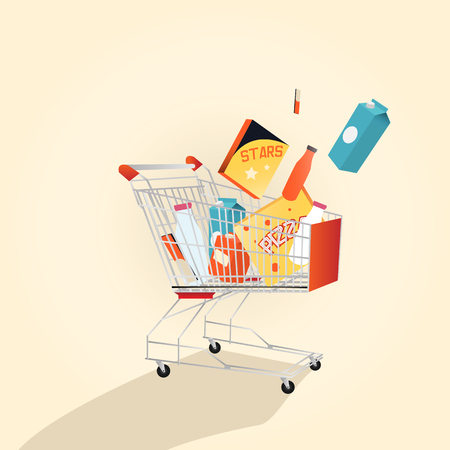 A supermarket shopping cart full with various freshgrocery products. Isolated on white background. Vector illustration. Çizim