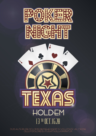 Texas Holdem poker night invitation poster or banner template with four aces combination, lettering and casino poker chip. Vector illustration.