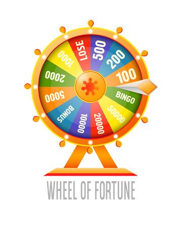 rueda de la fortuna: Rueda de la fortuna elemento de diseño de infografía. ilustración vectorial de estilo plano aislado en el fondo blanco. Vectores