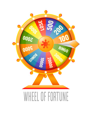 Wheel of fortune infographic design element. Flat style vector illustration isolated on white background. Vettoriali