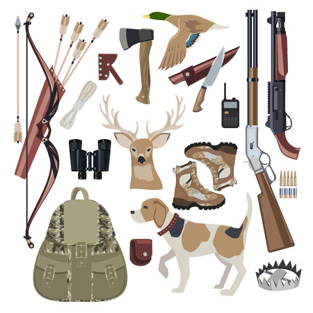 weapon: Hunting icon set design elements. Hunting equipment with Dog. Flat style. Vector illustration. Illustration