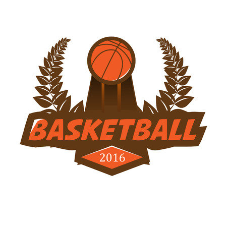 championship: Basketball championship with ball, laurel wreath. Vector Illustration. Isolated on White.