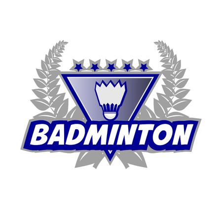 badminton racket: Badminton Tournament with flounce and laurel wreath. Vector Illustration. Isolated on White. Illustration