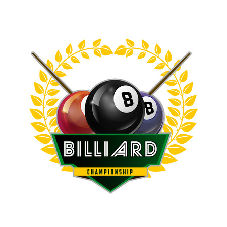 Vector Design Billiards, pool and snooker sport icon. Poolroom emblems design with balls, laurel wreath. Vector Illustration. Isolated on White. Illustration
