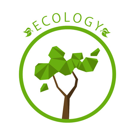 ecology background: Ecology concept with polygon tree background. Vector illustration.