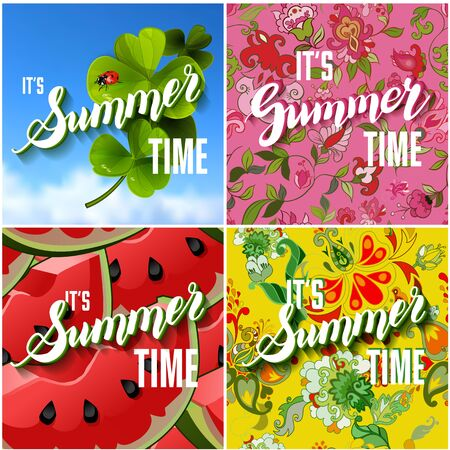 clover backdrop: Vector Set of Colorful Bright Lettering Summer Cards. Beautiful Summer Posters or Flyers with Watermelon Background, Floral Pattern, Fresh Clover with Ladybug on Blue Sky Backdrop and Hand Written Text. Vector Illustration. Illustration