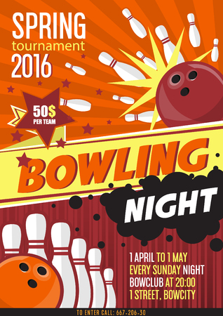 Bowling Tournament Poster Template. Design with Bowling Ball and Pins. Flat Style. Vector Ilustration.