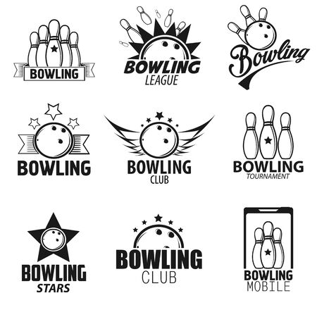 tournament: Bowling Labels,  Design Elements and Icons Set. Vector Illustration.  Black and White Isolated.