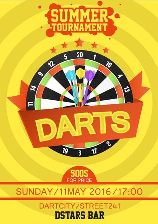 tournament: Darts Tournament Poster. Dartboard with dart in the center. Flat style. Vector Illustration.