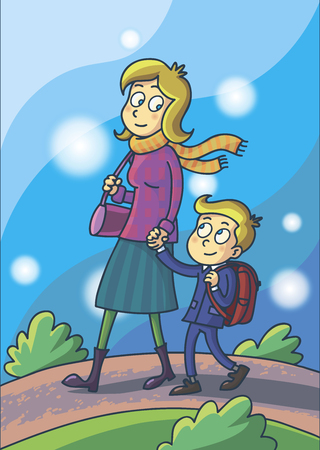 Mother leads her son in school. Mother holds her sons hand. Illustration