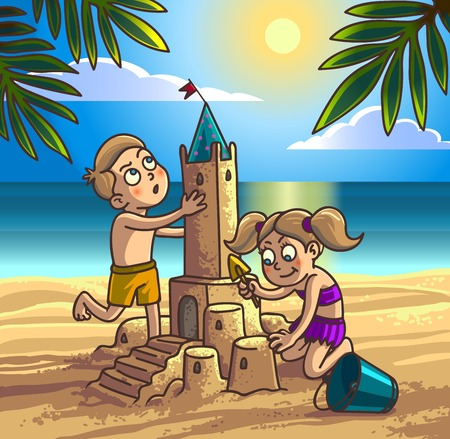 kids fun: Summer fun sand castle. Cute cartoon little Happy kids Boy and girl are building sandcastle on a tropical beach with palm trees. Vector Illustration.