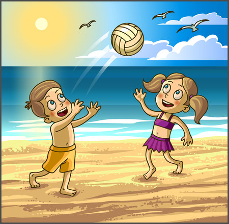 kinder garden: Childrens summer activities. Happy kids boy and girl are playing with ball on summer beach. Vector Illustration.
