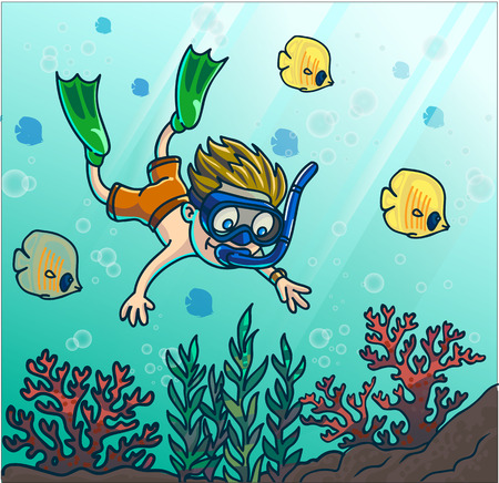 boy swim: Summer fun diving. Boy diving in the sea with mask and snorkel. Vector Illustration.