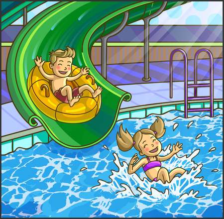 Summer fun aqua park. Water hills in an aquapark. The cheerful boy and girl rides on water hills. Vector Illustration. Happy children on water sliding.