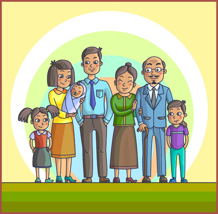 asian children: Big Happy Asian Cartoon Family. Parents with Children. Father mother, children with grandpa and grandma. Kids with parents and grandparents. Illustration