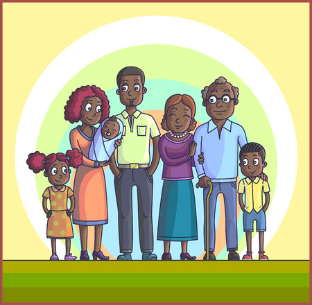 happy family: Big Happy African Cartoon Family. Parents with Children. Father mother, children with grandpa and grandma. Kids with parents and grandparents.