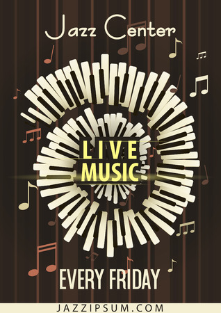 live music: Jazz Live music festival, poster background template. Keyboard with music notes. Flyer design. Vector Illustration. Illustration