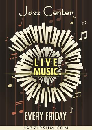 Jazz Festival Musica dal vivo, poster modello sfondo. Tastiera con le note musicali. flyer design. Illustrazione vettoriale.