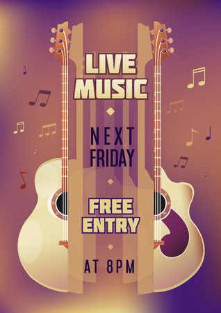 lead guitar: Musician concert show poster with acoustic guitar. Vector illustration. vector poster template. Printable concert promotion in bars, bars, public places.