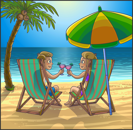 couple in summer: Summer tropical relax leasure scene on the beach. Happy couple are having fun on summer beach. Tourists on the beach. Vector Illustration.