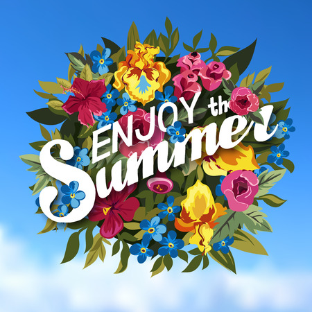 Summer Typographical Contexte Avec différentes plantes et fleurs. Summer bouquet de fleurs. Vector Illustration