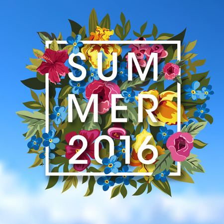 typographical: Summer Typographical Background With different Plants And Flowers. Summer flower bouquet. Vector Illustration