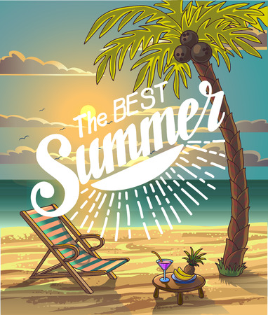 seaside: Summer Beach Lettering Vector Design in the Seashore with Palm tree and Chair. The Best Summer. Summer Background. Vector Illustration. Beach Holidays Illustration