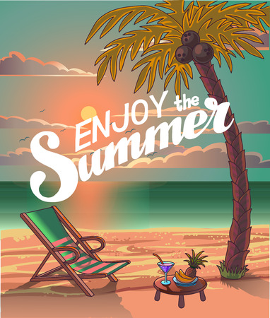 Summer Beach Lettering Vector Design in the Seashore with Palm tree and Chair. Enjoy the Summer. Summer Background. Vector Illustration. Beach Holidays