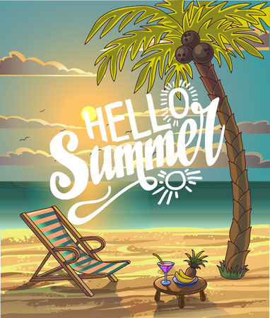 Summer Beach Lettering Vector Design in the Seashore with Palm tree and Chair. Hello Summer. Summer Background. Vector Illustration. Beach Holidays