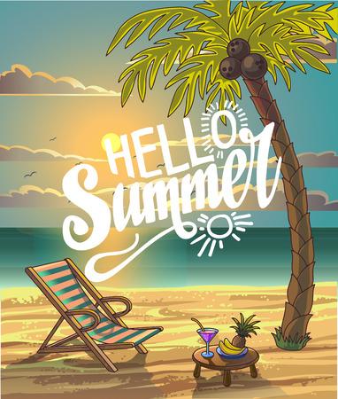 Sommer-Strand-Beschriftung Vektor-Design in der Küste mit Palme und Stuhl. Hallo Sommer. Sommer-Hintergrund. Vektor-Illustration. Strandferien