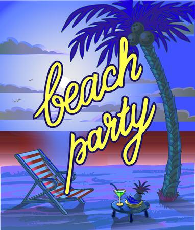 sensation: Summer Beach Lettering Party Flyer. Vector Illustration. Illustration