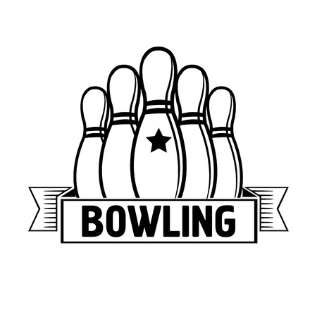 league: Bowling emblems, labels, badges and designed elements. Black and white isolated. Vector Illustration.