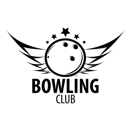 tactic: Bowling emblems, labels, badges and designed elements. Black and white isolated. Vector Illustration.