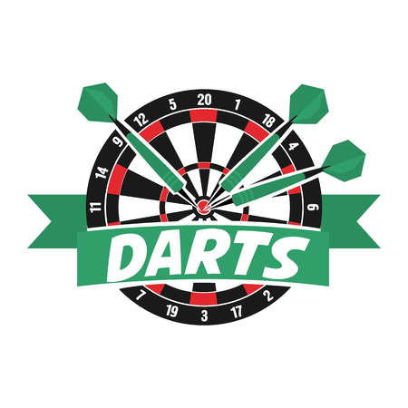 Darts label. Darts sporting symbols. Darts, dartboard, ribbon for sport, sporting and leisure design. Vector Illustration.