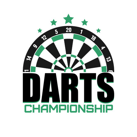 league: Darts label.   Darts sporting symbols. Darts, dartboard, ribbon for sport, sporting and leisure design. Vector Illustration. Illustration