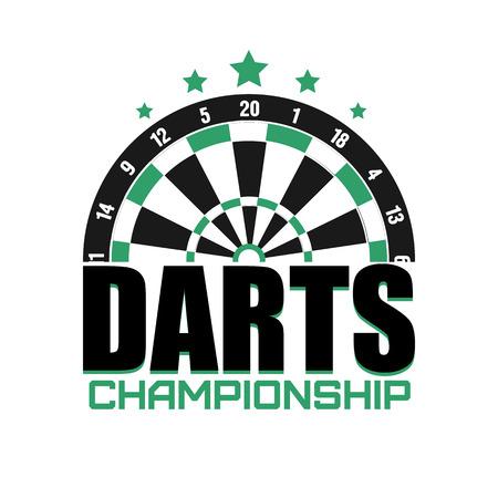 Darts label.   Darts sporting symbols. Darts, dartboard, ribbon for sport, sporting and leisure design. Vector Illustration. Illustration