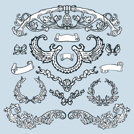 ornamental design: Laurel wreaths, banners, branches set. Decorative elements at engraving style.