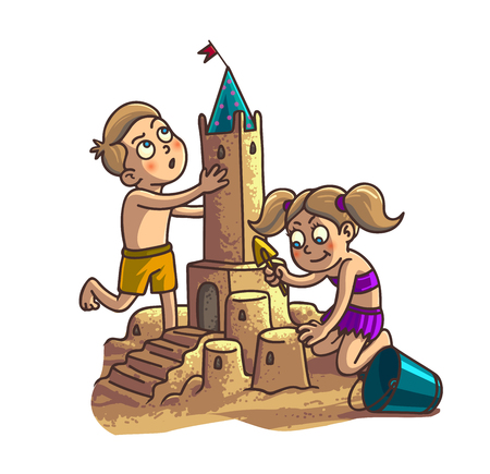 sand beach: Summer fun sand castle. Cute cartoon little Happy kids Boy and girl are building sandcastle on a tropical beach with palm trees.
