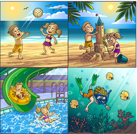 family park: Summer fun on beach. Children are playing on seaside playing volleyball, building sand castle, diving. Water hills in an aqua park.