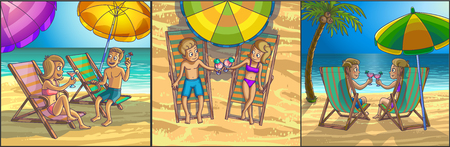 couple in summer: Summer tropical relax leisure scene on the beach. Happy couple are having fun on summer beach. Tourists on the beach.