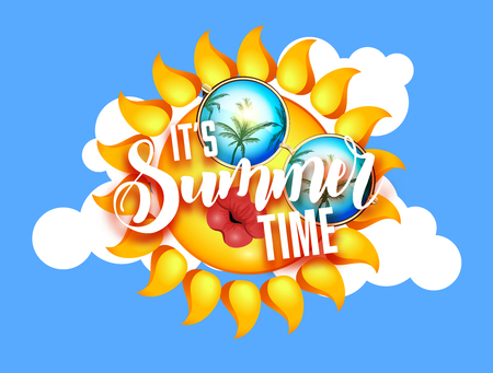Summer sun with sunglasses and kissing full lips. Lettering Sunshine design with hand written Its summer time words.